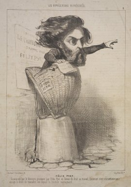 Honoré Daumier (French, 1808-1879). Félix Pyat, January 10, 1849. Lithograph on newsprint, Sheet: 13 7/8 x 9 1/2 in. (35.2 x 24.2 cm). Brooklyn Museum, Gift of Shelley and David Garfinkel, 1996.225.22