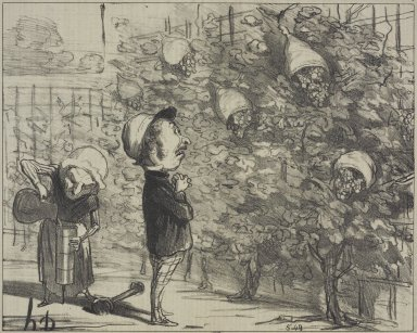 Honoré Daumier (French, 1808-1879). My Poor Grapes...(Mes pauvres raisins...), October 13, 1853. Lithograph on newsprint, Sheet: 9 13/16 x 14 1/16 in. (24.9 x 35.7 cm). Brooklyn Museum, Gift of Shelley and David Garfinkel, 1996.225.26