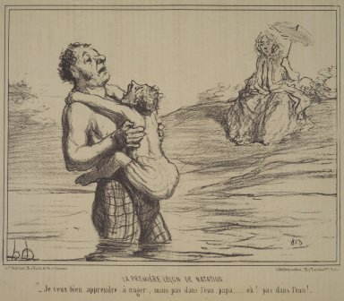 Honoré Daumier (French, 1808-1879). The First Swimming Lesson (La Première leçon de natation), August 23, 1855. Lithograph on newsprint, Sheet: 9 1/2 x 14 1/4 in. (24.1 x 36.2 cm). Brooklyn Museum, Gift of Shelley and David Garfinkel, 1996.225.3