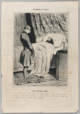 Honoré Daumier (French, 1808-1879). L'Ami d'un Grand Homme, March 20, 1842. Lithograph on newsprint, Sheet: 14 3/8 x 9 13/16 in. (36.5 x 25 cm). Brooklyn Museum, Gift of Shelley and David Garfinkel, 1996.225.30
