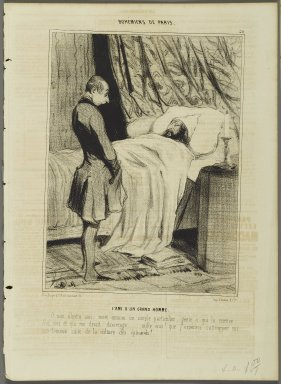 Honoré Daumier (French, 1808-1879). L'Ami d'un Grand Homme, March 20, 1842. Lithograph on newsprint, Sheet: 13 13/16 x 10 1/16 in. (35.1 x 25.6 cm). Brooklyn Museum, Gift of Shelley and David Garfinkel, 1996.225.33