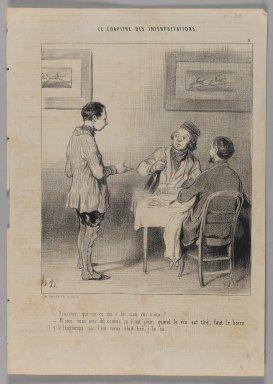 Honoré Daumier (French, 1808-1879). François, Qui est-ce Qui a Bu mon Vin Vieux?..., November 28, 1843. Lithograph on newsprint, Sheet: 13 3/4 x 9 5/8 in. (34.9 x 24.4 cm). Brooklyn Museum, Gift of Shelley and David Garfinkel, 1996.225.35