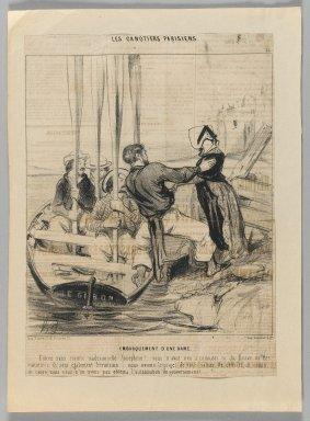 Honoré Daumier (French, 1808-1879). Embarquement d'une Dame, June 26, 1843. Lithograph on newsprint, Sheet: 11 1/2 x 8 3/8 in. (29.2 x 21.2 cm). Brooklyn Museum, Gift of Shelley and David Garfinkel, 1996.225.41