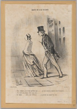 "Honoré Daumier (French, 1808-1879). ""Non, madame, je ne quitterai pas...,"" April 26, 1848. Lithograph on newsprint, 13 7/16 x 8 7/8 in. (34.2 x 22.6 cm). Brooklyn Museum, Gift of Shelley and David Garfinkel, 1996.225.43"