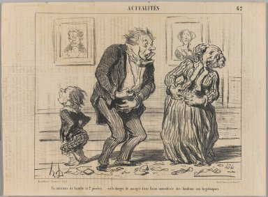 Honoré Daumier (French, 1808-1879). Un Intérieur de Famille le 2 Janvier..., January 7, 1853. Lithograph on newsprint, Sheet: 9 15/16 x 13 3/8 in. (25.2 x 34 cm). Brooklyn Museum, Gift of Shelley and David Garfinkel, 1996.225.46
