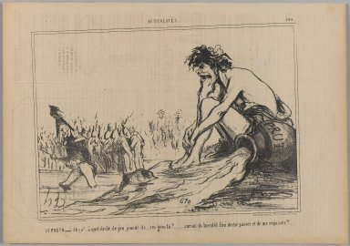 "Honoré Daumier (French, 1808-1879). Le Pruth.__ ""Ah ça!... à quel drôle de jeu...,"" August 29, 1854. Lithograph on newsprint, Sheet: 9 13/16 x 14 1/16 in. (24.9 x 35.7 cm). Brooklyn Museum, Gift of Shelley and David Garfinkel, 1996.225.47"