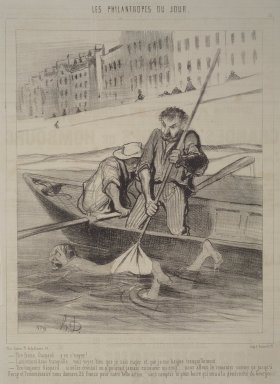 Honoré Daumier (French, 1808-1879). Pull, Gaspard, Pull!  (Tire ferme, Gaspard.... y va s'neyer!), November 13, 1844. Lithograph on newsprint, Sheet: 13 7/8 x 9 13/16 in. (35.2 x 24`. Brooklyn Museum, Gift of Shelley and David Garfinkel, 1996.225.5