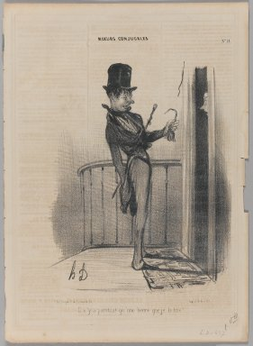 Honoré Daumier (French, 1808-1879). Il n'y a pourtant qu'une heure que je le tire!, November 5, 1839. Lithograph on newsprint, 13 3/4 x 9 15/16 in. (34.9 x 25.2 cm). Brooklyn Museum, Gift of Shelley and David Garfinkel, 1996.225.52