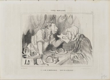 Honoré Daumier (French, 1808-1879). You Sniff the Merchandise...Before Buying It (On flaire la marchandise...avant de la mécaniser!...), July 27, 1842. Lithograph on newsprint, Sheet: 9 13/16 x 13 13/16 in. (24.9 x 35.1 cm). Brooklyn Museum, Gift of Shelley and David Garfinkel, 1996.225.53