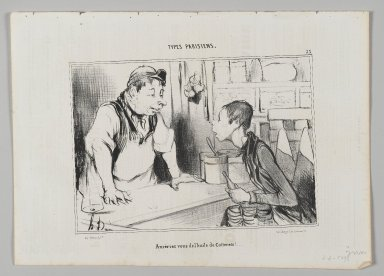 "Honoré Daumier (French, 1808-1879). ""Aureriez vous de l'huile de Cotterêts!...,"" August 23, 1842. Lithograph on newsprint, Image: 6 7/16 x 9 1/4 in. (16.3 x 23.5 cm). Brooklyn Museum, Gift of Shelley and David Garfinkel, 1996.225.54"