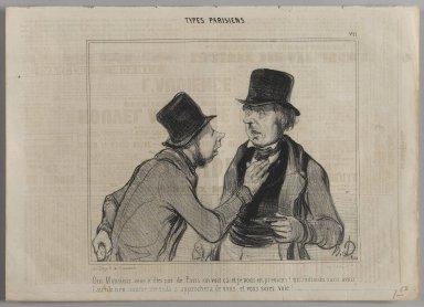 """Honoré Daumier (French, 1808-1879). """"Oui Monsieur vous n'êtes pas de Paris on voit ca et je vous en préviens!...,"""" August 1, 1841. Lithograph on newsprint, Sheet: 9 15/16 x 13 3/4 in. (25.3 x 35 cm). Brooklyn Museum, Gift of Shelley and David Garfinkel, 1996.225.56"""