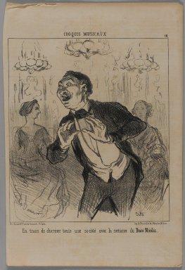 Honoré Daumier (French, 1808-1879). En Train de Charmer Toute une Société avec la Romance du Beau Nicolas, April 8, 1852. Lithograph on newsprint, Sheet: 14 1/4 x 9 9/16 in. (36.2 x 24.3 cm). Brooklyn Museum, Gift of Shelley and David Garfinkel, 1996.225.58