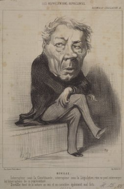 Honoré Daumier (French, 1808-1879). Deville, August 18, 1849. Lithograph on newsprint, Sheet: 12 5/8 x 8 9/16 in. (32 x 21.8 cm). Brooklyn Museum, Gift of Shelley and David Garfinkel, 1996.225.6