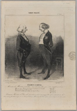 Honoré Daumier (French, 1808-1879). Réglement de Comptes, March 28, 1841. Lithograph on newsprint, Sheet: 14 3/16 x 9 13/16 in. (36 x 25 cm). Brooklyn Museum, Gift of Shelley and David Garfinkel, 1996.225.61