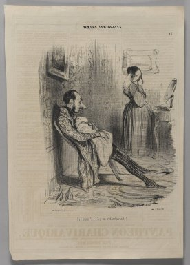 """Honoré Daumier (French, 1808-1879). """"Cré nom!......Si on réfléchissait!......,"""" November 6, 1839. Lithograph on newsprint, Image: 13 3/4 x 9 1/2 in. (35 x 24.2 cm). Brooklyn Museum, Gift of Shelley and David Garfinkel, 1996.225.62"""