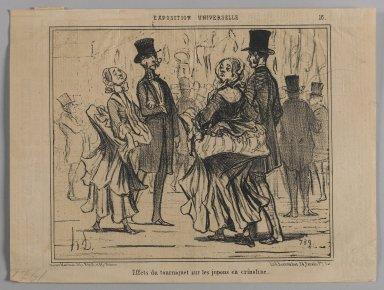 "Honoré Daumier (French, 1808-1879). ""Effets du tourniquet sur les jupons en crinoline,"" June 25, 1855. Lithograph on newsprint, Sheet: 9 9/16 x 12 11/16 in. (24.3 x 32.3 cm). Brooklyn Museum, Gift of Shelley and David Garfinkel, 1996.225.63"