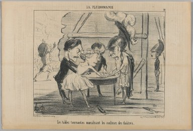 Honoré Daumier (French, 1808-1879). The Turning Tables Are Contributing To The Atmosphere in the Wings of the Theater (Les tables tournantes moralisant les coulisses des théâtres), June 13, 1853. Lithograph, Sheet: 9 11/16 x 14 5/16 in. (24.6 x 36.4 cm). Brooklyn Museum, Gift of Shelley and David Garfinkel, 1996.225.67