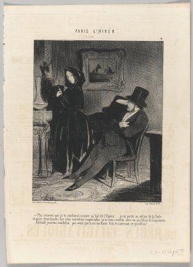 "Honoré Daumier (French, 1808-1879). ""Plus souvent que je te conduirai encore au bal de l'Opéra!...,"" January 16, 1845. Lithograph on newsprint, Sheet: 13 7/8 x 10 in. (35.2 x 25.4 cm). Brooklyn Museum, Gift of Shelley and David Garfinkel, 1996.225.68"