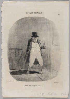 Honoré Daumier (French, 1808-1879). La Rentrée Entre Onze Heures et Minuit, November 16, 1847. Lithograph on newsprint, Image: 14 3/8 x 9 13/16 in. (36.5 x 25 cm). Brooklyn Museum, Gift of Shelley and David Garfinkel, 1996.225.69