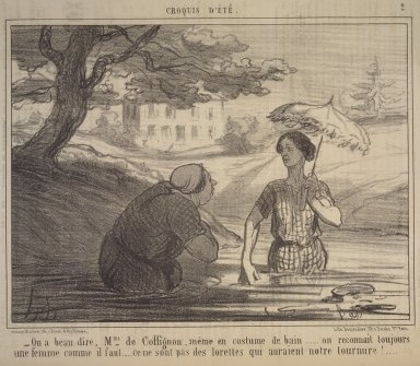 Honoré Daumier (French, 1808-1879). You Surely Agree, Madame de Coffignon....(On a beau dire, Mme de Coffignon....), July 8, 1856. Lithograph on newsprint, Image: 9 5/8 x 14 5/16 in. (24.5 x 36.3 cm). Brooklyn Museum, Gift of Shelley and David Garfinkel, 1996.225.7