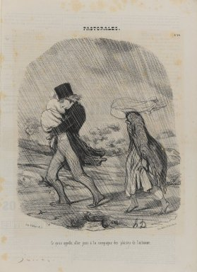 Honoré Daumier (French, 1808-1879). Ce Qu'on Appelle, Aller Jouir à la Campagne des Plaisirs de l'Automne, November 29, 1845. Lithograph on newsprint, Sheet: 14 1/4 x 10 5/16 in. (36.2 x 26.2 cm). Brooklyn Museum, Gift of Shelley and David Garfinkel, 1996.225.73
