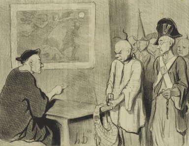Honoré Daumier (French, 1808-1879). Le Code Pénal, May 25, 1845. Lithograph on newsprint, Sheet: 9 5/8 x 14 3/8 in. (24.4 x 36.5 cm). Brooklyn Museum, Gift of Shelley and David Garfinkel, 1996.225.75