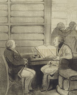 """Honoré Daumier (French, 1808-1879). """"Oui, mon cher Monsieur Badoulard...je vais...,"""" February 26, 1845. Lithograph on newsprint, Sheet: 14 5/16 x 9 7/16 in. (36.4 x 24 cm). Brooklyn Museum, Gift of Shelley and David Garfinkel, 1996.225.77"""