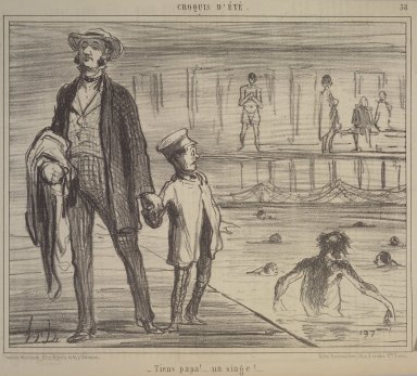 Honoré Daumier (French, 1808-1879). Look, Papa, a Monkey! (Tiens Papa!...un singe!...), July 30, 1858. Lithograph on newsprint, Sheet: 9 1/2 x 14 3/16 in. (24.2 x 36.1 cm). Brooklyn Museum, Gift of Shelley and David Garfinkel, 1996.225.8