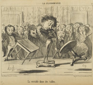Honoré Daumier (French, 1808-1879). La Véritable Danse des Tables, June 18, 1853. Lithograph on newsprint, Sheet: 9 13/16 x 14 1/4 in. (24.9 x 36.2 cm). Brooklyn Museum, Gift of Shelley and David Garfinkel, 1996.225.80