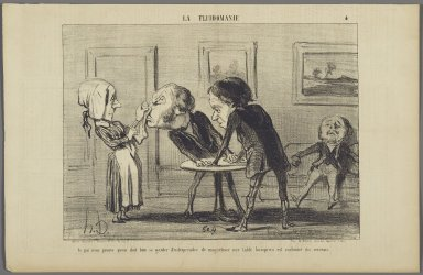 """Honoré Daumier (French, 1808-1879). """"Ce qui nous prouve qu'on doit bien...,"""" May 25, 1853. Lithograph on newsprint, Sheet: 9 3/16 x 14 3/16 in. (23.3 x 36.1 cm). Brooklyn Museum, Gift of Shelley and David Garfinkel, 1996.225.86"""