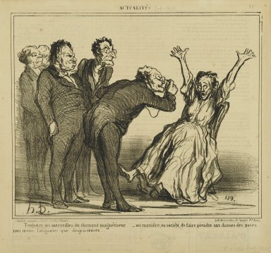 Honoré Daumier (French, 1808-1879). Toujours les Merveilles..., January 5, 1860. Lithograph on newsprint, Sheet: 11 3/16 x 11 7/8 in. (28.4 x 30.2 cm). Brooklyn Museum, Gift of Shelley and David Garfinkel, 1996.225.88