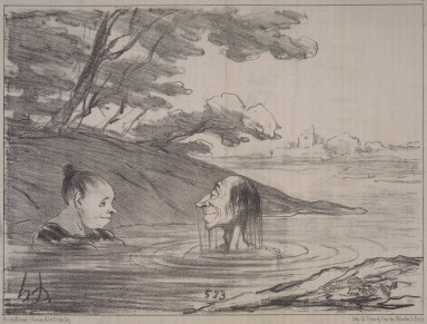 Honoré Daumier (French, 1808-1879). Parisian Tritons--Male and Female (Tritons parisiens, - mâle et femelle), July 19, 1853. Lithograph on newsprint, Sheet: 9 1/4 x 14 1/4 in. (23.5 x 36.2 cm). Brooklyn Museum, Gift of Shelley and David Garfinkel, 1996.225.9