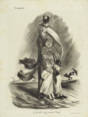 Honoré Daumier (French, 1808-1879). La Famille d'Arg... Pendant l'Orage, September 29, 1833. Lithograph on newsprint, 12 3/4 x 9 9/16 in. (32.4 x 24.3 cm). Brooklyn Museum, Gift of Shelley and David Garfinkel, 1996.225.92