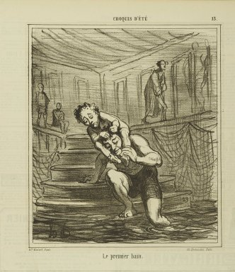 Honoré Daumier (French, 1808-1879). Le Premier Bain, August 30, 1865. Lithograph on newsprint, Sheet: 11 3/4 x 11 3/16 in. (29.8 x 28.4 cm). Brooklyn Museum, Gift of Shelley and David Garfinkel, 1996.225.93