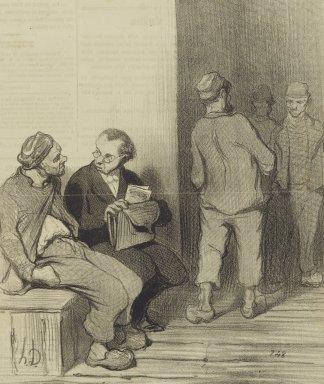 Honoré Daumier (French, 1808-1879). Je Compte sur Vous pour Signer ma Pètition pour l'Abolition de la Peine de Mort..., April 16, 1845. Lithograph on newsprint, Sheet: 14 3/8 x 9 1/2 in. (36.5 x 24.1 cm). Brooklyn Museum, Gift of Shelley and David Garfinkel, 1996.225.94