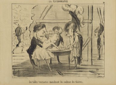 Honoré Daumier (French, 1808-1879). Les Tables Tournantes Moralisant les Coulisses des Théâtres, June 13, 1853. Lithograph on newsprint, Sheet: 9 5/8 x 14 1/16 in. (24.4 x 35.7 cm). Brooklyn Museum, Gift of Shelley and David Garfinkel, 1996.225.96