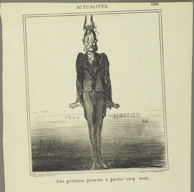 Honoré Daumier (French, 1808-1879). Une Position Gênante à Garder Cinq Mois, September 6, 1869. Lithograph on newsprint, Sheet: 16 7/8 x 11 1/8 in. (42.9 x 28.3 cm). Brooklyn Museum, Gift of Shelley and David Garfinkel, 1996.225.99