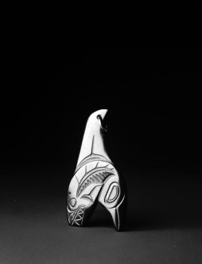 Pat McGuire (Haida, Native American). Pendant in the Form of a Killer Whale, 1970. Argillite, 2 1/8 x 1 1/4 in.  (5.4 x 3.2 cm). Brooklyn Museum, Gift of Mr. and Mrs. Alastair B. Martin, the Guennol Collection, 1996.23.1. Creative Commons-BY