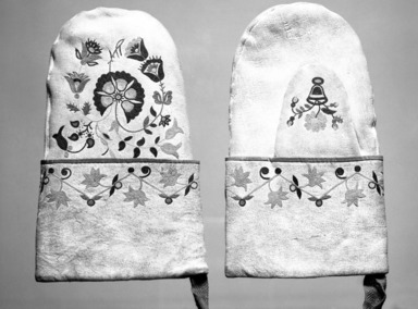 Cree (Native American). Pair of Mittens, late 19th-early 20th century. Leather, silk, 9 3/8 x 5 13/16 in.  (23.8 x 14.8 cm). Brooklyn Museum, Gift of Mr. and Mrs. Alastair B. Martin, the Guennol Collection, 1996.23.2a-b. Creative Commons-BY