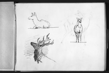 John Singer Sargent (American, 1856-1925). Sketchbook, 1871-1872. Graphite, charcoal, watercolor and white chalk on paper, Sketchbook: 9 3/16 x 11 7/8 x 1/2 in. (23.3 x 30.2 x 1.3 cm). Brooklyn Museum, Gift of Bronson Binger, 1996.231