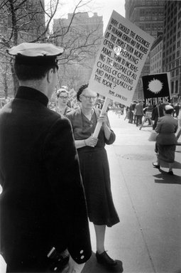 Vivian Cherry (American, born 1920). Dorothy Day, City Hall Park Marching Against the Atom Bomb, 1959. Gelatin silver photograph (vintage), image: 6 7/8 x 10 3/16 in. (17.5 x 25.9 cm). Brooklyn Museum, Gift of Steven Schmidt, 1996.241.13. © Vivian Cherry