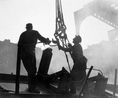 Vivian Cherry (American, born 1920). Tearing Down of the 3rd Avenue EL (Demolition Men on Girders), 1955. Gelatin silver photograph, image: 9 1/8 x 13 1/2 in. (23.2 x 34.3 cm). Brooklyn Museum, Gift of Steven Schmidt, 1996.241.32. © Vivian Cherry