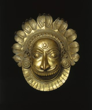Mask of Ferocious Bhuta Deity, ca. 18th century. Brass, approx. height: 19 in. (48.3 cm). Brooklyn Museum, Purchase gift of Dr. Bertram H. Schaffner, 1996.24. Creative Commons-BY