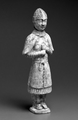 Tomb Figure of a Khotanese Soldier, 618-906. Buff earthenware with polychrome decoration, 14 1/2 x 5 x 2 5/8 in. (36.8 x 12.7 x 6.7cm). Brooklyn Museum, Purchased with funds given by Marina Zazanis in honor of Ruth Dickes, 1996.25. Creative Commons-BY