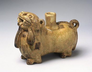 Vessel in the Form of a Mythological Animal, 265-316 C.E. Yue ware, stoneware, glaze, 4 1/4 x 6 1/8 x 2 3/4 in. (10.8 x 15.6 x 7cm). Brooklyn Museum, Gift of Dr. and Mrs. George J. Fan, 1996.26.10. Creative Commons-BY