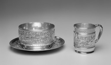 Tiffany & Company (American, founded 1853). Mug, ca. 1905. Silver, 3 1/2 x 4 1/4 x 2 7/8 in. (8.9 x 10.7 x 7.3 cm). Brooklyn Museum, Gift of Mrs. John H. Livingston, 1996.37.4. Creative Commons-BY