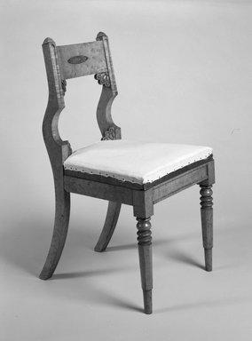 Michel Bouvier (American, born France, 1792-1874). Side Chair, ca. 1825-1830. Maple with gilt metal mounts, 34 3/4 x 18 5/8 x 19 5/8 in. (88.3 x 46.0 x 49.9 cm). Brooklyn Museum, Bequest of Marie Bernice Bitzer, by exchange, 1996.4. Creative Commons-BY