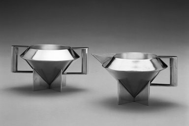 Ilonka Karasz (American, born Hungary, 1896-1981). Creamer, Designed 1928. Electro-plated nickel silver, 3 x 5 1/2 x 4 1/4 in. (7.6 x 14 x 10.8 cm). Brooklyn Museum, Modernism Benefit Fund, 1996.5.1. Creative Commons-BY