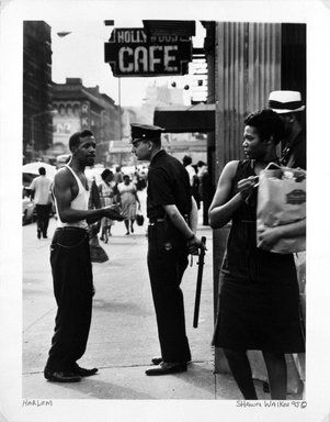 Shawn Walker. 116th Street, Hollywood Cafe, Harlem Series, 1962-1963. Vintage gelatin silver photograph on photographic paper, sheet: 10 3/4 x 13 3/4 in. (27.4 x 34.9 cm). Brooklyn Museum, Gift of Mr. and Mrs. Gilbert Millstein, 1996.62.2. © Shawn Walker