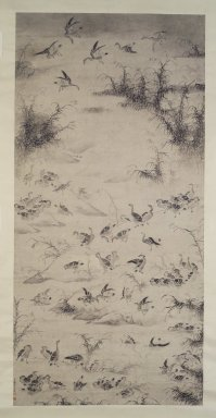 Bian Shoumin (Chinese, 1684-1752). One Hundred Geese, late 17th-early 18th century. Ink on paper, overall: 124 x 49 7/8 in. Brooklyn Museum, Purchased with funds given by Susan L. Beningson, Dr. and Mrs. Richard Dickes, gift of the Asian Art Council and Carll H. de Silver Fund, 1996.66